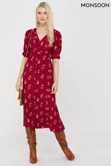 Monsoon Red Betty Print Sustainable Viscose Dress