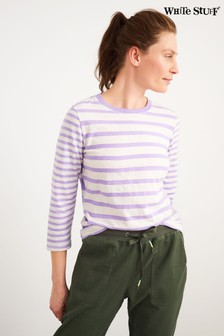 White Stuff Plum Mixed Stripe T-Shirt