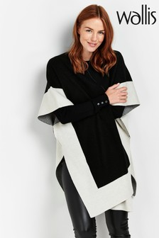 Wallis Black Df Colour Block Cape
