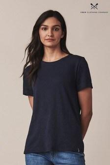 Crew Clothing Blue Slub Cotton T-Shirt