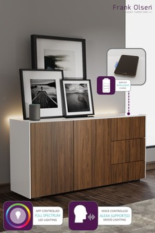 Frank Olsen Smart LED White and Walnut Sideboard