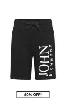 John Richmond Boys Black Cotton Shorts
