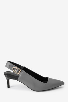 Hardware Detail Leather Slingbacks