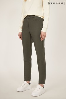 Warehouse Green Compact Cotton Trousers