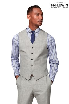 T.M. Lewin Canaletto Barberis Grey Slim Fit Waistcoat