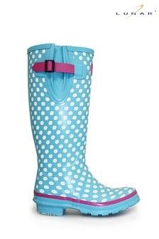 Lunar Adjustable Rubber Pale Blue Polka Dot Wellington Boots