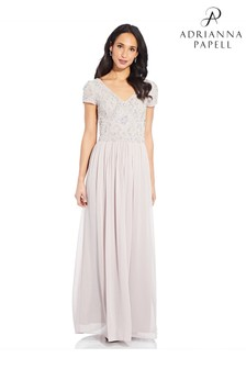 Adrianna Papell White Beaded Gown With Soft Skirt