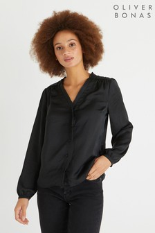 Oliver Bonas Frill Front Black Shirt
