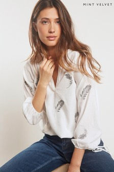 Mint Velvet White Ivory Feather Embroidered T-Shirt