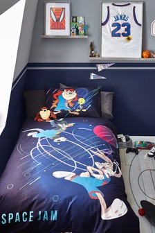 Navy Blue Looney Tunes Space Jam Reversible Duvet Cover and Pillowcase Set