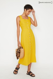 Warehouse Yellow Linen Button Front Midi Dress