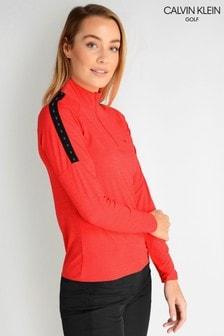 Calvin Klein Golf Red Kahn Zip Neck Poloshirt
