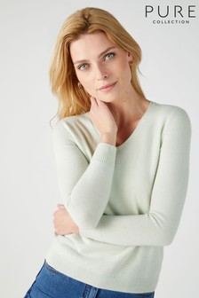 Pure Collection Green Cashmere Straight Fit V-Neck Sweater