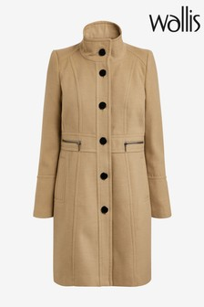 Wallis Camel Faux Wool Zip Pocket Coat