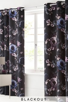 Timeless Floral Blackout Eyelet Curtains