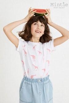 Mintie by Mint Velvet White Giraffe Print T-Shirt