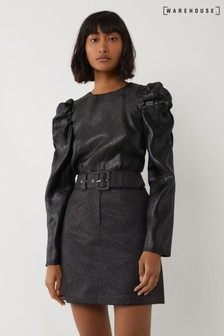 Warehouse Black Metallic Croc Pelmet Mini Skirt
