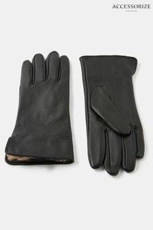 Accessorize Leopard Faux Fur Lined Gloves
