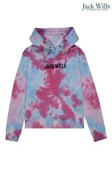 Jack Wills Girls Blue Sky Print LB Overhead Hoodie