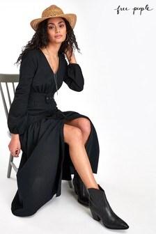 Free People Black Tiered Midi Dress