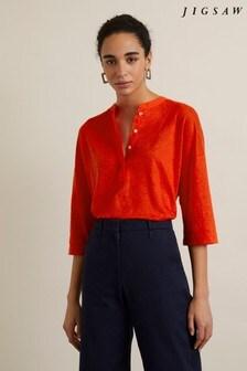 Jigsaw Red Placket Long Sleeve Shirt