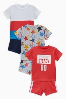 Lot de trois pyjamas à inscription et motif étoile (9 mois - 8 ans)
