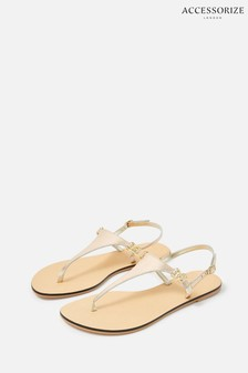 Accessorize Gold Luxe Leather Charm Sandals