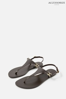 Accessorize Brown Luxe Leather Charm Sandals