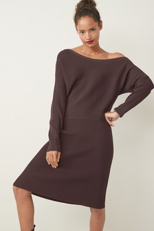 Off The Shoulder Long Sleeve Knit Dress