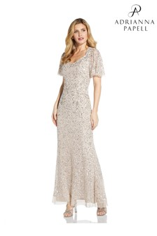 Adrianna Papell Natural Beaded Mermaid Gown