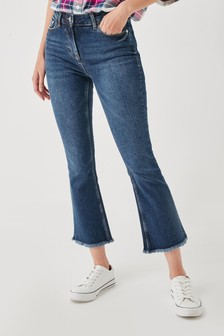 Crop Kick Flare Mid Rise Jeans