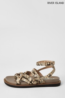 River Island Grey Stud Flat Sandals