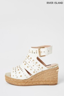 River Island White Laser Cut Mid Wedge Sandals