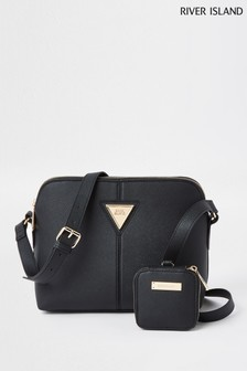 River Island Black Med Double Comp Pouch