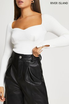 River Island White Bustier Top