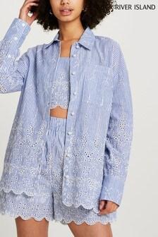 River Island Blue Long Sleeve Broderie Oversized Shirt