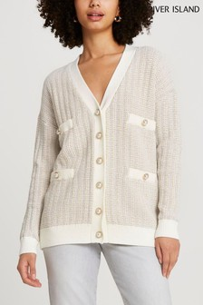 River Island Cream Tweed Check Cardigan