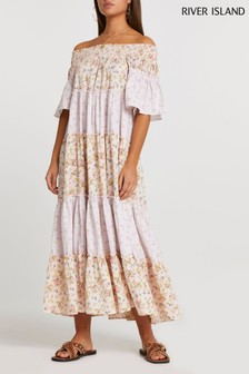 River Island Pink Bardot Tiered Maxi Dress