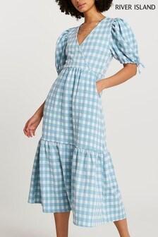 River Island Blue Texture Wrap Midi Gingham Dress