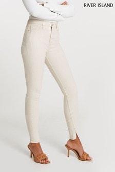 River Island Ecru High Rise Skinny Spice Jeans
