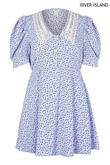 River Island Petite Blue Floral Collar Tea Mini Dress
