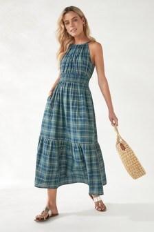 Halter Neck Tiered Maxi Dress