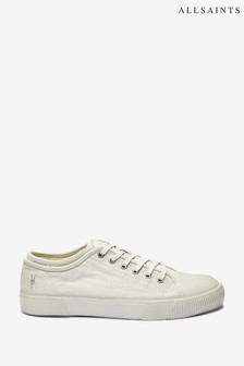 AllSaints White Rigg Ramskull Lace Up-Canvas Shoes