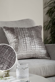 Silver Collection Luxe Grid Pleat Velvet Square - Feather Filled Cushion