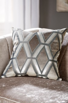 Grey Collection Luxe Velvet Geo Square - Feather Filled Cushion