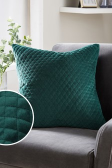 Bottle Green Velvet Quilted Hamilton Square - Feather Filled Cushion