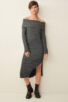 Off The Shoulder Knitted Dress