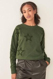 Star Embossed Crew Neck Sweater