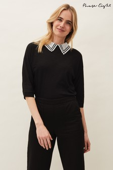 Phase Eight Black Ava Lace Collar Top