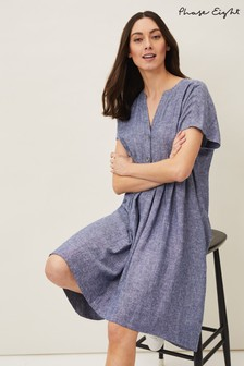 Phase Eight Blue Danica Linen Blend Swing Dress